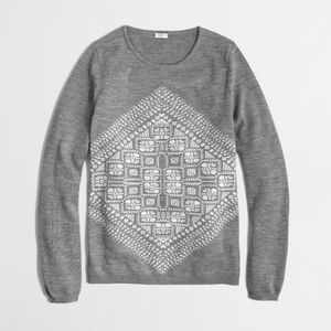 JCREW Geometric Graphic Merino Wool Sweater
